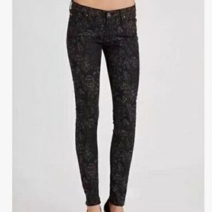 7 FOR ALL MANKIND Black Floral Damask Jeans